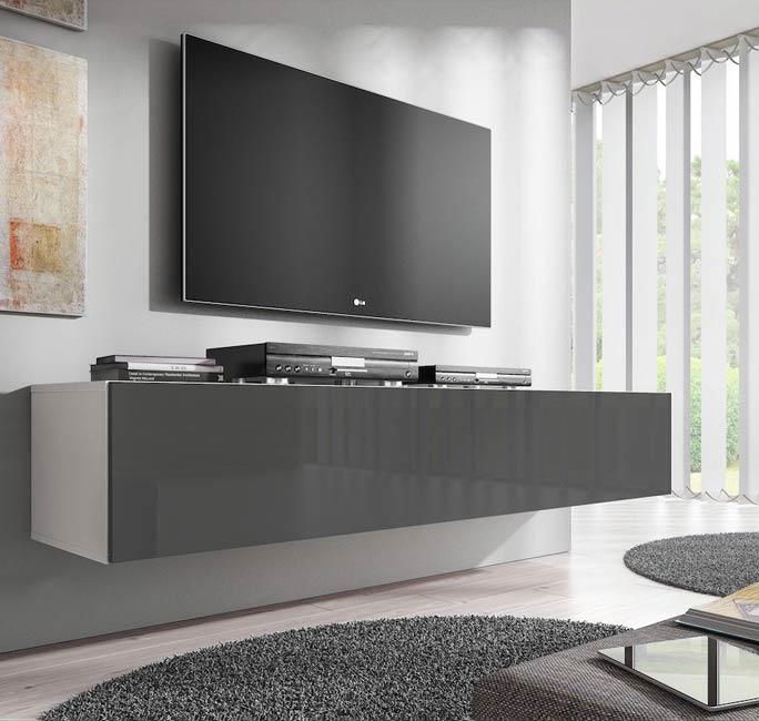 Mueble tv modelo fabiana xl 160 cm en blanco for Muebles salon blanco y gris